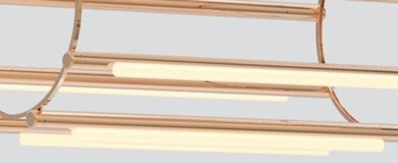 Lustre pipeline chandelier 5 cuivre led 4100k o76cm h125cm andlight normal