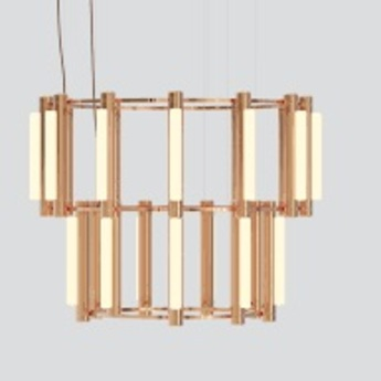 Lustre pipeline chandelier 8 cuivre led 4100k o102cm h84cm andlight normal