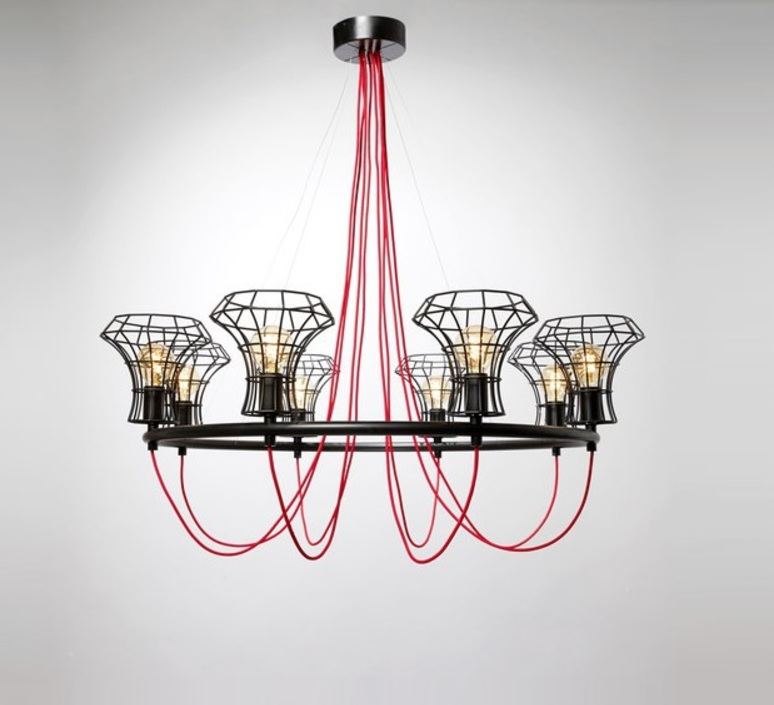 Queen cage massimo rosati zava queen cage noir 9005 cable scarlet red rayon luminaire lighting design signed 17438 product