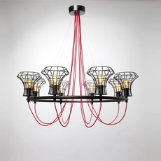 Queen cage massimo rosati zava queen cage noir 9005 cable scarlet red rayon luminaire lighting design signed 17438 thumb