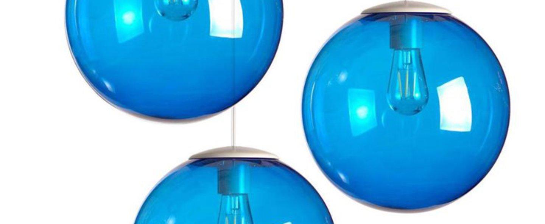 Lustre spheremaker 3 spheres bleu led o50cm h25 a 50cm fatboy normal