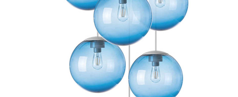Lustre spheremaker 6 spheres bleu led o60cm h25 a 150cm fatboy normal
