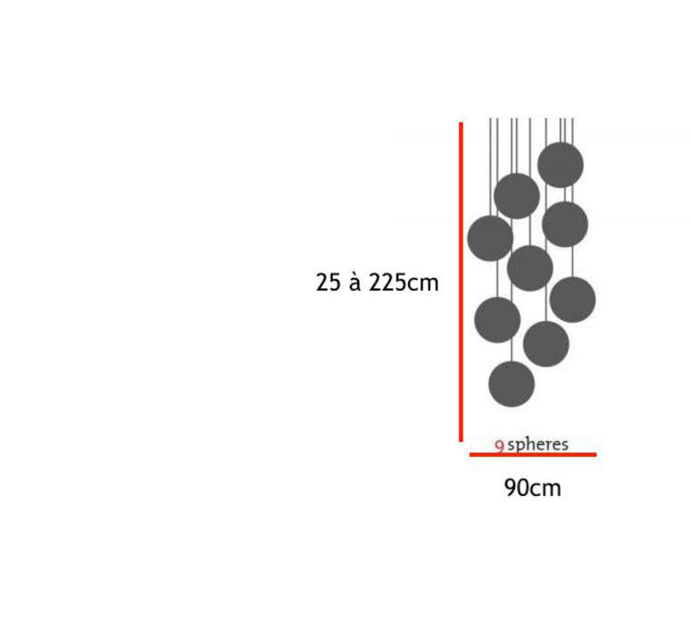 Spheremaker 9 spheres alex bergman lustre chandelier  fatboy 100050  design signed 59232 product