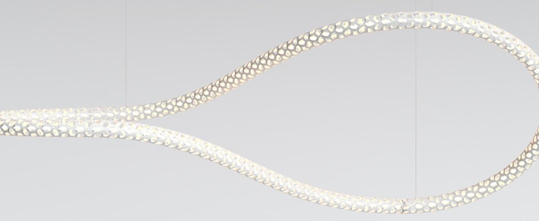 Lustre squiggle 4 blanc led 2700k 4600lm l145cm h50cm rotaliana normal