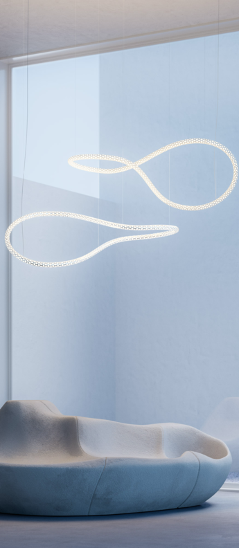 Lustre squiggle 4 blanc led 2700k 4600lm l145cm h50cm rotaliana normal