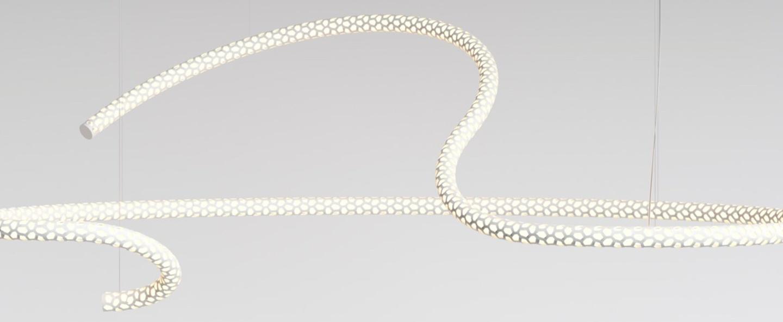Lustre squiggle 5 blanc led 2700k 6500lm l174cm h62cm rotaliana normal