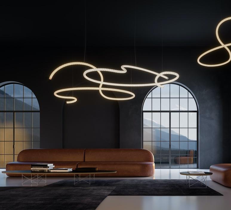 Squiggle 5 giovanni lauda lustre chandelier  rotaliana 1sqh500063zl0  design signed nedgis 115346 product