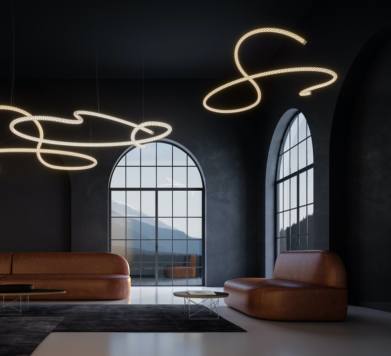 Squiggle 5 giovanni lauda lustre chandelier  rotaliana 1sqh500063zl0  design signed nedgis 115347 product