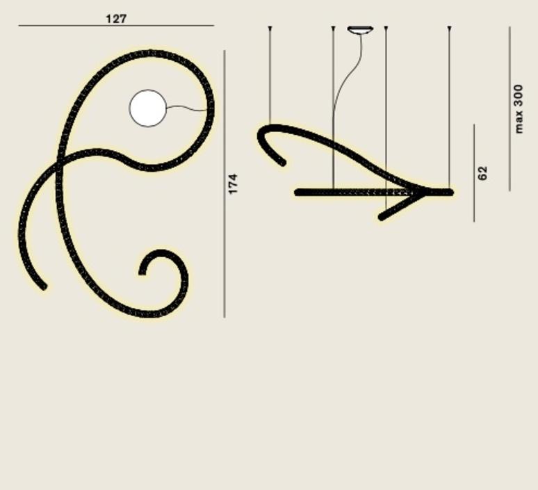 Squiggle 5 giovanni lauda lustre chandelier  rotaliana 1sqh500063zl0  design signed nedgis 115348 product