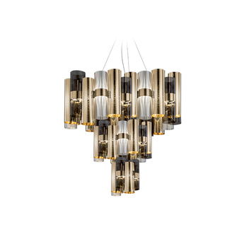 Lustre suspension la lollo or fume o80cm h83cm led slamp normal