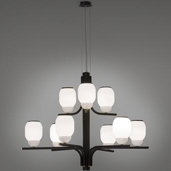Lustre the chandelier 9 bras noir o107cm h83cm alma light normal