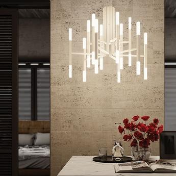 Lustre thelight 12 bras blanc led 2700k 105lm o67 5cm h60cm alma light normal
