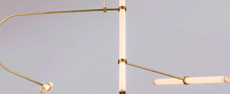 Lustre tube 2 laiton led l106cm h139cm naama hofman normal