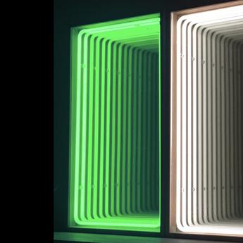 Mobilier lumineux miroir mini bois chene neon vert l41cm h70cm lumneo normal