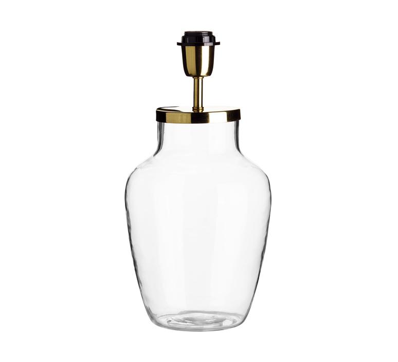 Pied de lampe verre transparent et laiton m o19 cm h30cm tine k home 58796 product