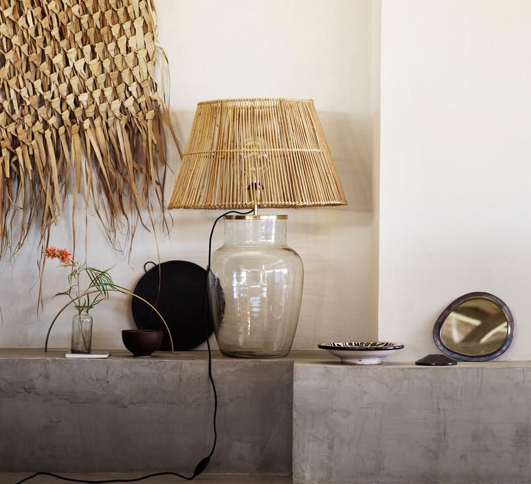 Pied De Lampe Verre Transparent Et Laiton M O19 Cm H30cm Tine K