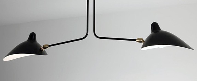 Plafonnier 2 bras fixes noir o105cm serge mouille normal