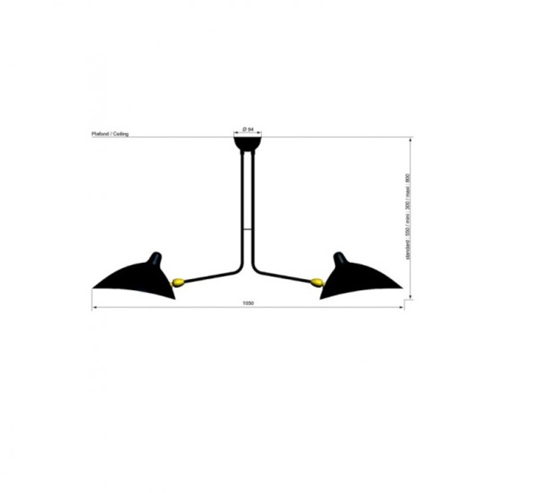2 bras fixes serge mouille editionssergemouille p2b noir luminaire lighting design signed 21003 product