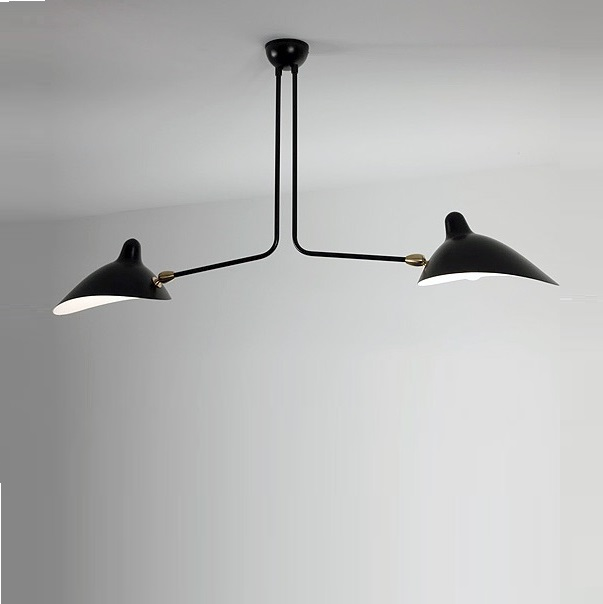 plafonnier 2 bras fixes noir 105cm serge mouille luminaires nedgis. Black Bedroom Furniture Sets. Home Design Ideas