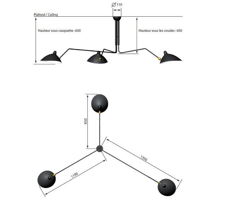 3 bras pivotants serge mouille editionssergemouille p3b noir luminaire lighting design signed 20850 product