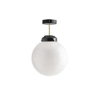 Plafonnier art deco noir laiton et blanc o25cm h40cm zangra normal