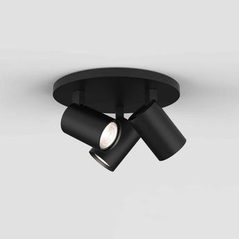 Plafonnier ascoli triple round noir mat o22cm h13cm astro normal