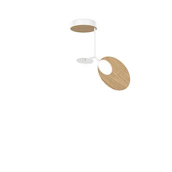 Plafonnier ballon pendant u1 blanc et chene led 3000k 500lm o39cm h53cm tunto normal