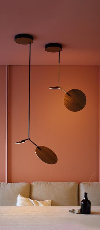 Plafonnier ballon pendant u1 or noir et noyer led 3000k 500lm o39cm h58cm tunto normal