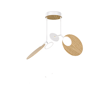 Plafonnier ballon pendant u2 blanc et chene led 3000k 1000lm o78cm h53cm tunto normal