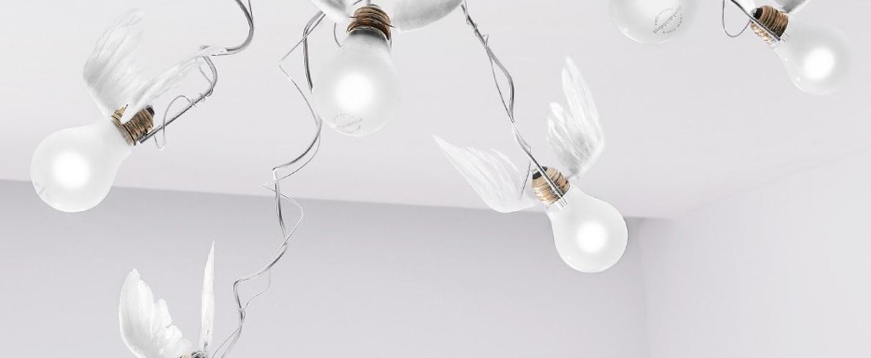 Plafonnier birdie s nest led blanc transparent o95cm h50cm ingo maurer normal