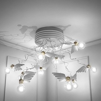 Plafonnier birdie s nest led blanc transparent o95cm h50cm ingo maurer normal