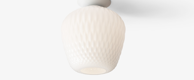 Plafonnier blown sw5 blanc opalin led o28cm h34cm andtradition normal