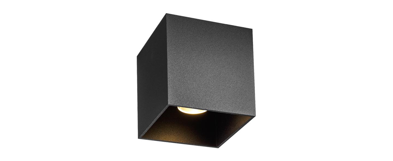 Plafonnier box 1 0 noir ip65 led 3000k 610lm o10cm h10cm wever ducre normal