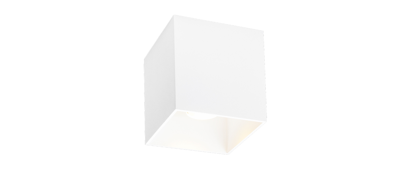 Plafonnier box 1 0 outdoor blanc ip65 led 2700k 580lm l10cm h10cm wever ducre normal