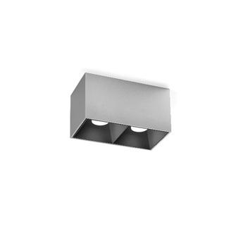 Plafonnier box 2 0 par16 aluminium brosse et noir l18 8cm h10cm wever ducre normal