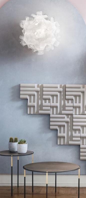 Plafonnier clizia pixel s gris blanc o32cm h15cm slamp normal