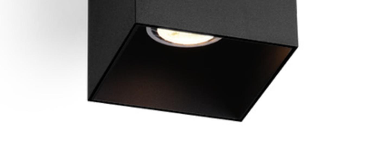 Plafonnier exterieur box 1 0 noir ip65 2700k 600lm l10cm h10cm wever ducre normal