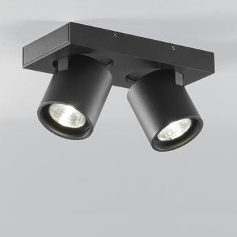 Plafonnier focus 2 noir led 3000k 1080lm l20cm h9cm light point normal