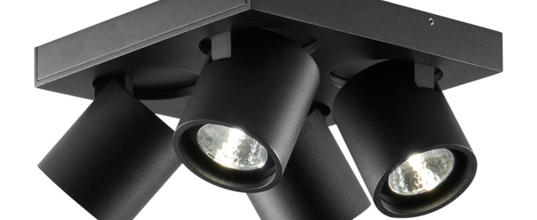 Plafonnier focus 4 noir led 3000k 2160lm l20cm h9cm light point normal