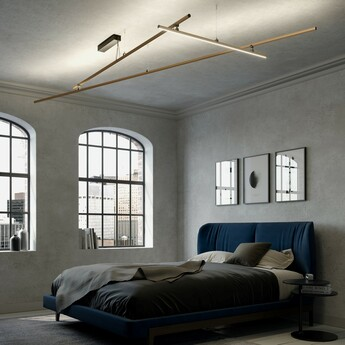Plafonnier freeline f44 bronze ip40 led dimmable 3000k l278 4cm h10cm fabbian normal