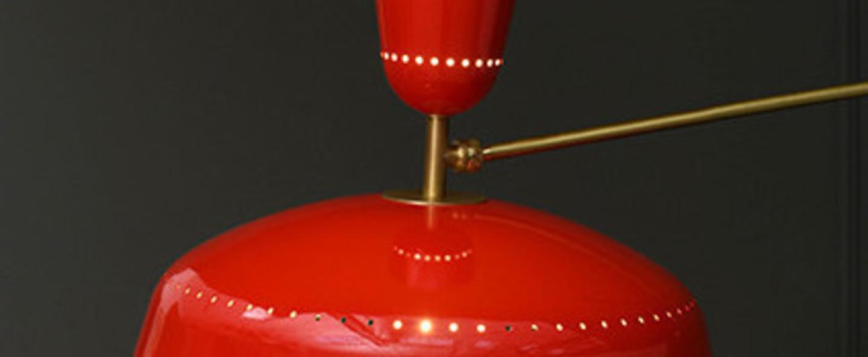 Plafonnier g1 guariche rouge l115cm h65cm sammode normal