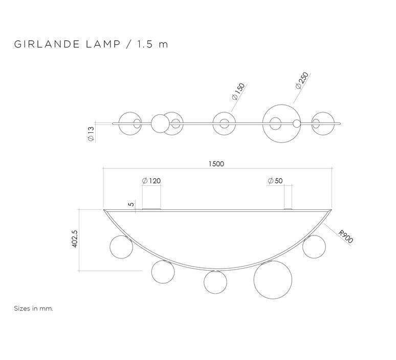 Girlande 5 globes gwendolyn et guillane kerschbaumer plafonnier ceilling light  atelier areti girlande ceiling5globes brass  design signed 44102 product