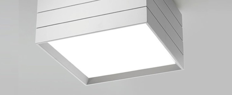 Plafonnier groupage 32 blanc led dimmable h20cm l32cm artemide normal