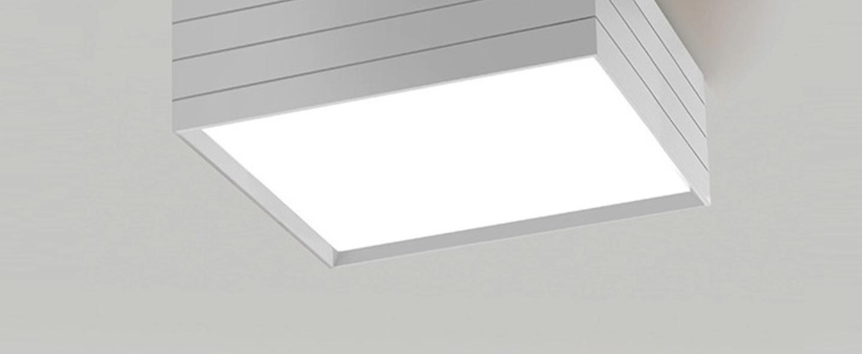 Plafonnier groupage 45 blanc led dimmable h20cm l45cm artemide normal