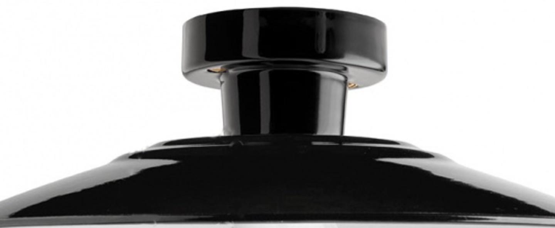 Plafonnier lampe en porcelaine et email blanc noir o28cm h8 5cm zangra normal