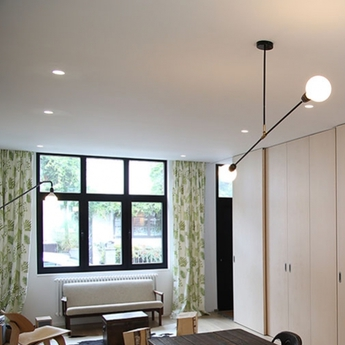 Plafonnier lampe porcelaine et metal noir o110cm h58 5cm zangra normal