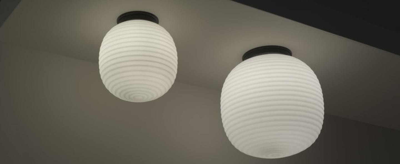 Plafonnier lantern verre opal blanc noir o20cm h22cm new works normal