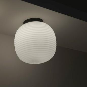 Plafonnier lantern verre opal blanc noir o30cm h32cm new works normal