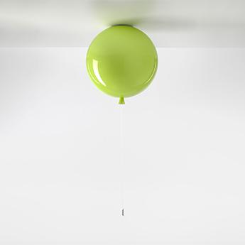 Plafonnier memory 400 verre vert pomme brillant ficelle blanche o40cm h41 5cm brokis normal