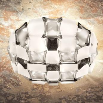 Plafonnier mida blanc et argent o50cm p16cm slamp normal